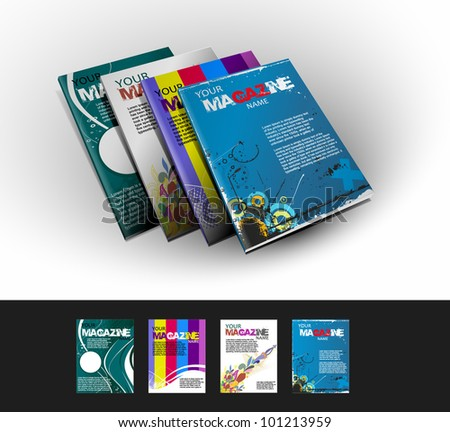 Four magazine cover layout design vector - stock vector