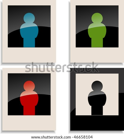 Four man on photo card - stock vector