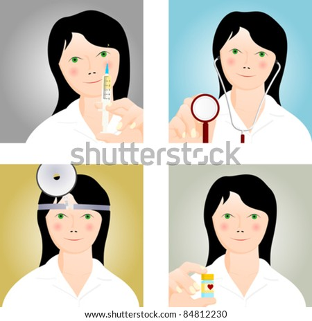 four medical icons with a young doctor - stock vector