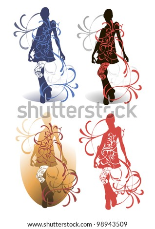 Four models of the silhouette, made in different graphic styles - stock vector