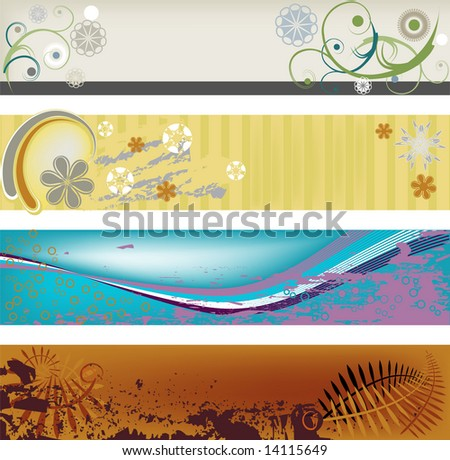 Four modern, abstract, gungy banners perfect for headers and banners. - stock vector