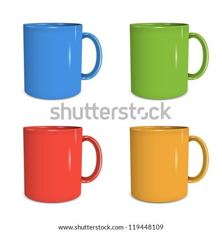 Four mugs of various colors. Vector eps10 - stock vector