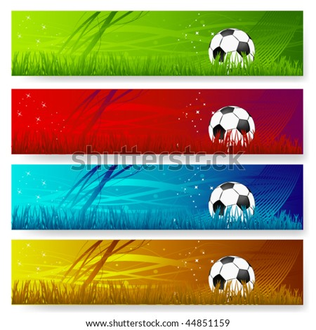 four multi colored soccer banners - stock vector
