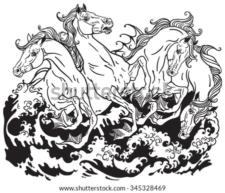 four mythological seahorses Black and white illustration
