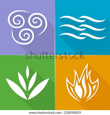 Four Natural Elements  Earth, Water, Air and Fire with long shadow - stock vector
