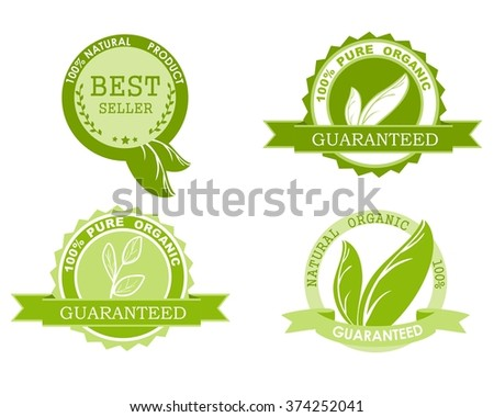 Four natural ingredients 100 percent organic product icons isolated on white. Green leaves. Vector illustration - stock vector