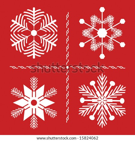 Four Nordic style snowflakes with pine branch influence on red background. All are compound path for easy color change. - stock vector