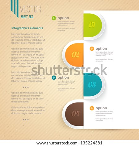 Four numbered tab with descriptions. Can be used for presentations, web design, infographics, number options. - stock vector