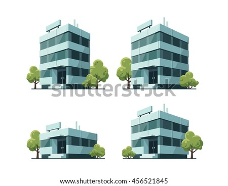 Four office vector buildings illustrations in perspective view with blue glass facade and green trees in cartoon style. - stock vector