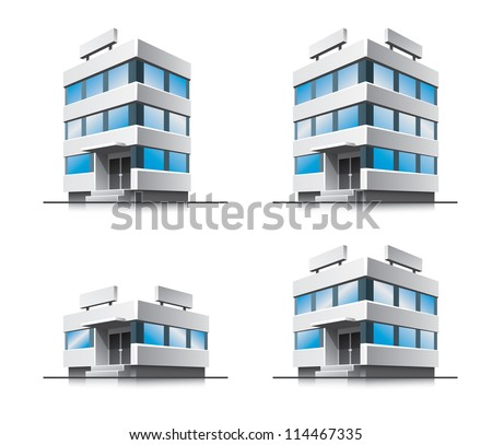 Four office vector house illustration in perspective view with blue glass windows. Work office building icon in cartoon style. - stock vector