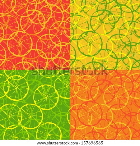 Four options seamless background with citrus fruits in the section. - stock vector