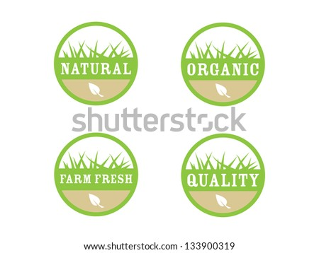 Four Organic Labels. - stock vector