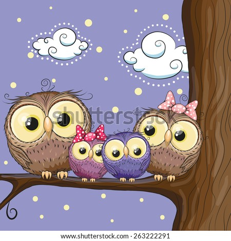 Four owls mother, father, son and daughter is sitting on a branch - stock vector