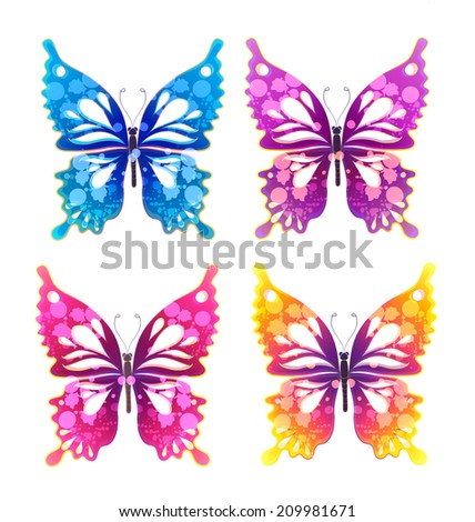 four painted watercolor colorful butterfly on white background - stock vector