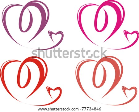 Four pairs hearts isolated on a white background. Vector illustration. - stock vector