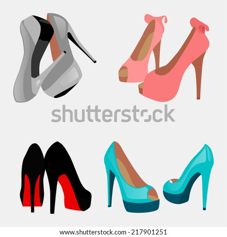 four pairs of shoes on a gray background - stock vector
