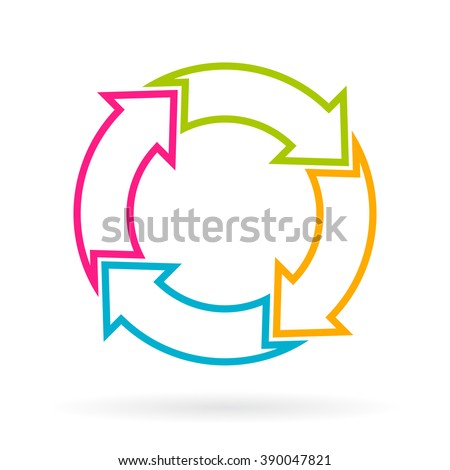 Four part cycle arrows chart isolated on white background - stock vector