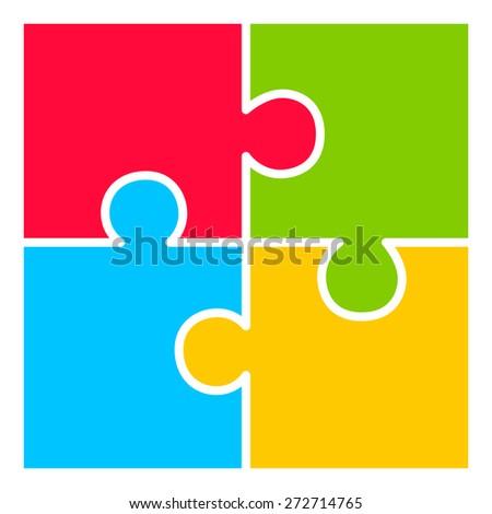 Four part puzzle diagram - stock vector