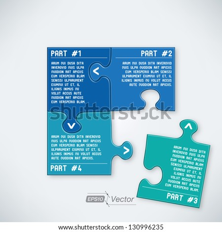 Four parts puzzle - stock vector