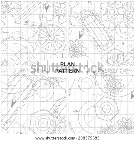 Four Patterns of Circuits, Mechanisms and Gears - stock vector