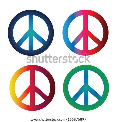 Four Peace Symbols Different Colors Gradients Stock Photo Photo