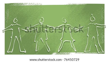 Four people holding hands, silhouette icons (painterly drawing) - stock vector