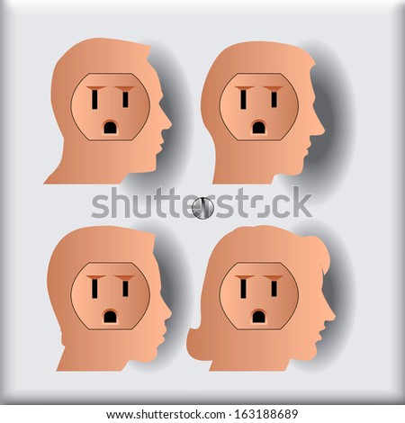Four People Who are Ready to get Plugged in to the Social Network  - stock vector