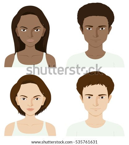 Four people with skin problem illustration