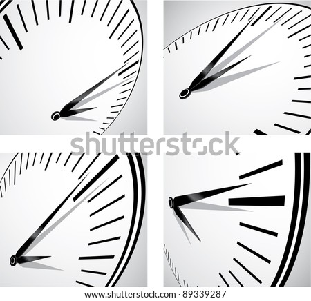 Four perspective distorted view of a watch with the minutes pointer very close to the noon hour. A time concept. All in black and white. - stock vector