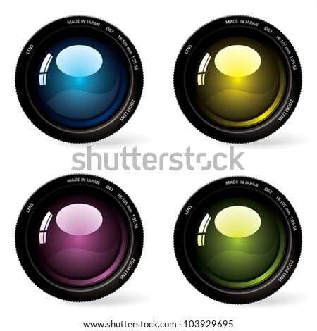 Four photographic lenses. - stock vector