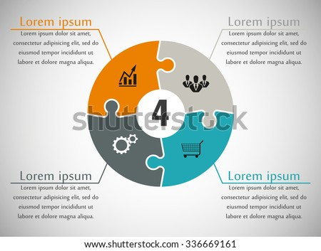 stock vector four piece flat puzzle round infographic presentation step circle business diagram four section 336669161 four piece flat puzzle round infographic stock vector 336669161