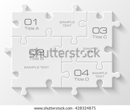 Four piece flat puzzle round infographic presentation. 4 step circle business diagram. Four section compare service banner. Vector illustration template shape . 3d Abstract Background - stock vector