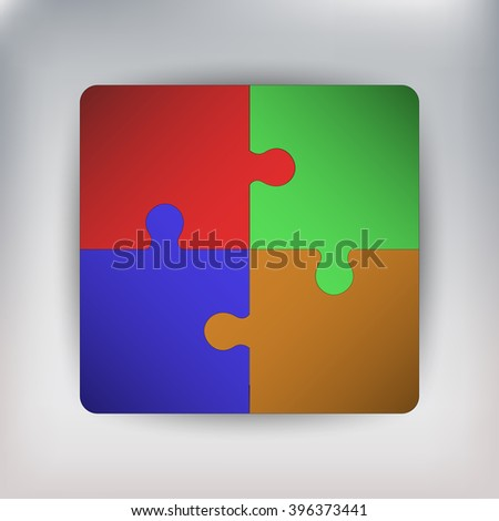 Four pieces of connected jigsaw or puzzle, creating square.Red, green, blue and orange elements.