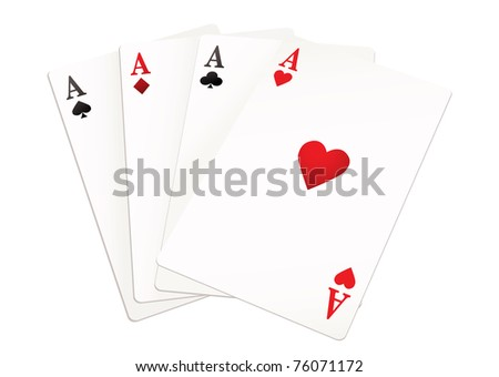 four playing cards from each suit all aces