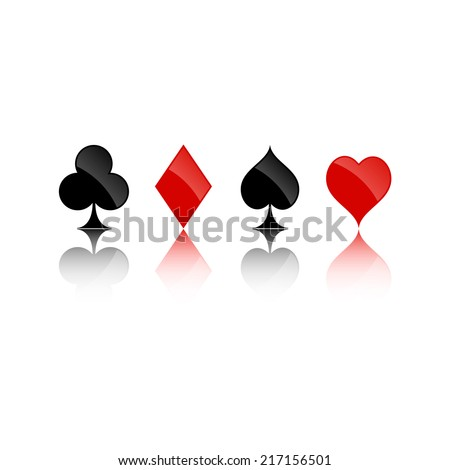 Four playing cards suits symbols, including spades, hearts, clubs and diamonds. Isolated on white background. Vector illustration, eps 10. - stock vector