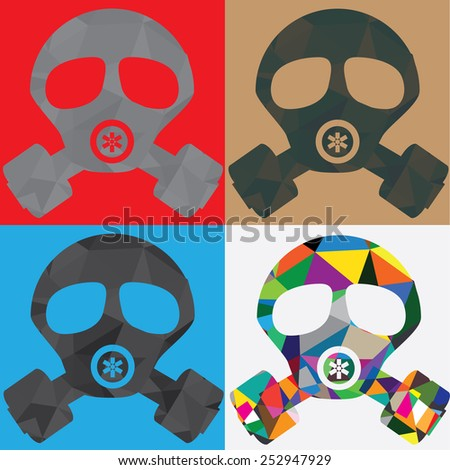 four polygon gas mask in color square - stock vector