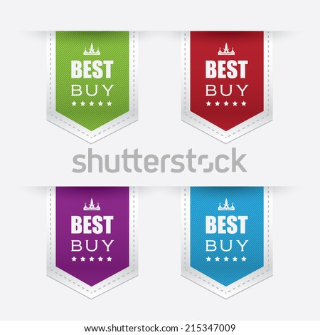 four premium quality best buy price tags in green, red, purple and blue color isolated on white background - stock vector