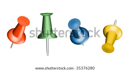 Four pushpins with different perspectives - stock vector