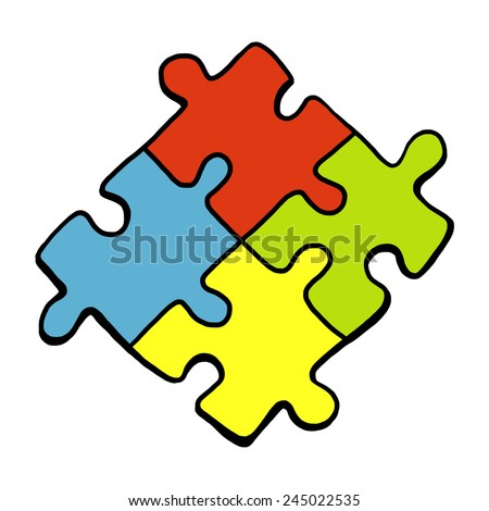 four puzzle pieces with four color / cartoon vector and illustration, hand drawn style, isolated on white background. - stock vector