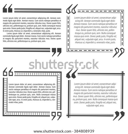 Four quote bubble template. Different forms with text examples. Straight and dotted lines. Vector illustration. Flat style.