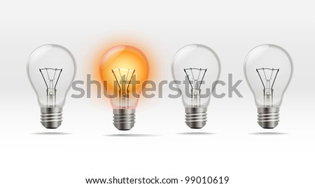 Four realistic lamps in a row - stock vector