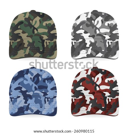 Four realistic military caps on white background. Vector EPS10 illustration.  - stock vector