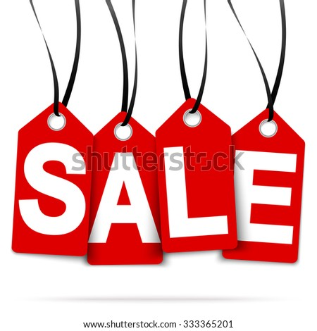 four red hang tags with SALE and black ribbons