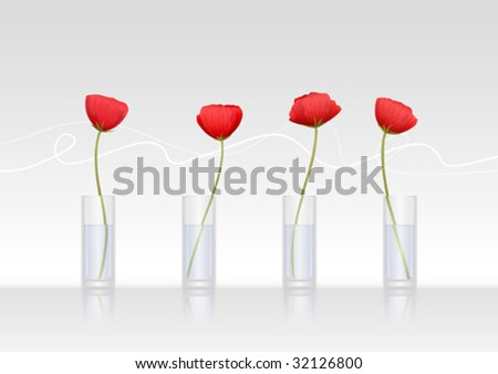 Four red poppy-flowers in glass vases (vector image)