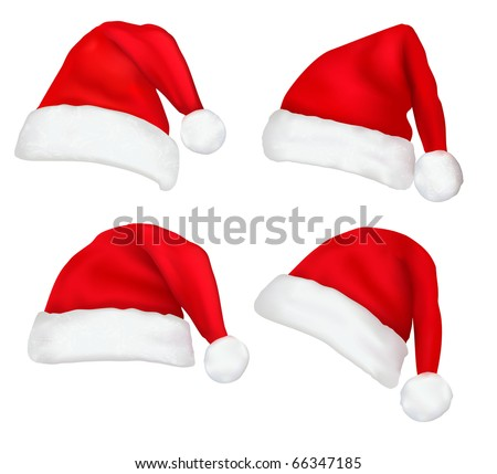 Four red santa hats. Vector. - stock vector