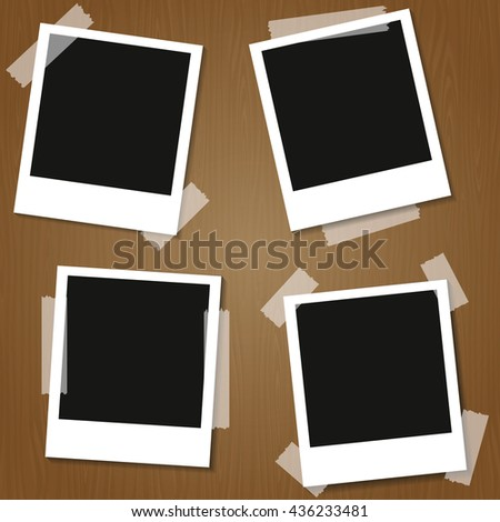 four Retro blank photography with a black place for your image in a photo album page. photo frame with shadow. Vector illustration.