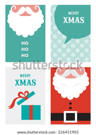 four retro cards for Christmas in hipster  style - stock vector