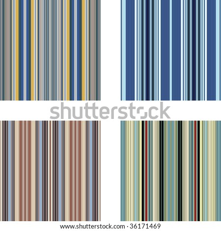 Four retro (seamless) vector stripe patterns in bright colors - stock vector