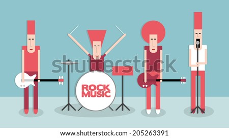 Four rock musicians, rock band, cartoon vector illustration on blue background, flat style - stock vector