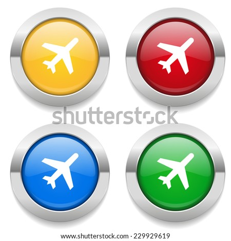Four round buttons with plane icon and metallic border - stock vector